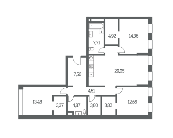 Трехкомнатные квартиры в ЖК Headliner